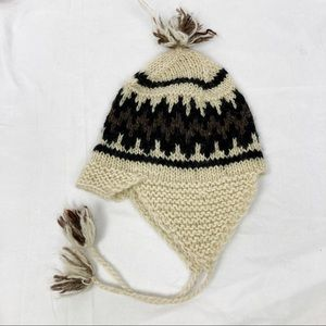 Vintage wool winter hat toque cream brown Nordic